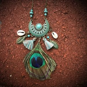 Boho Feathers, Shells and Tassels necklace